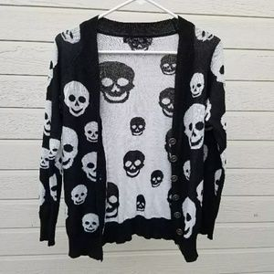 Punk Rock Goth Edgy Skull Sweater Rocker cardigan